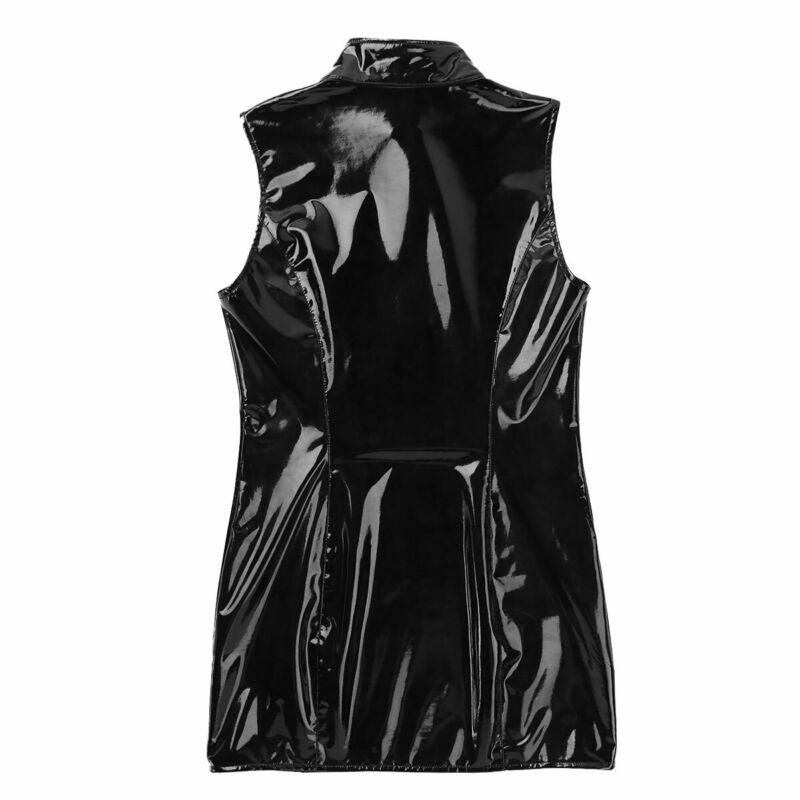 Damen Wetlook Bodycon Kleid Minikleid mit Stehkragen Leder-Optik Gogo Clubwear 7