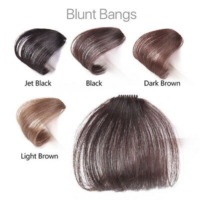 Thin Neat Air Bangs Remy Human Hair Extensions Clip in on Fringe Front Hairpiece 3