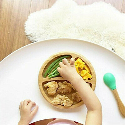 Baby Bamboo Suction Bowl and Matching Spoon Set, Stay Put Suction Feeding Bowl 3