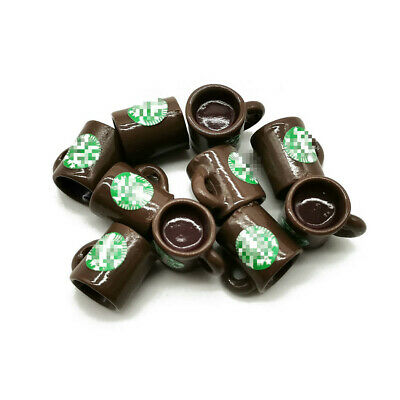 10Pcs Dollhouse Sticker Coffee Cups Mugs Miniature Model Accessories Brown