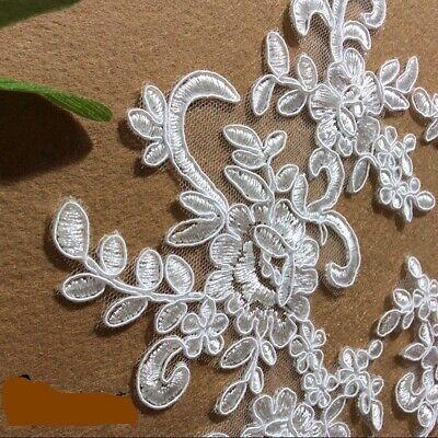 1Pair Embroidered Flower Lace Applique Motif Trim Wedding Dress Sew Crafts DIY 1 8
