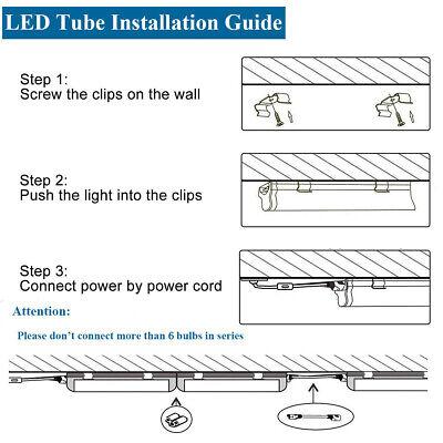 25PCS 8FT LED Tube Light Fixtures T8 6000K Integrated LED Shop Light 72W 7600LM 9