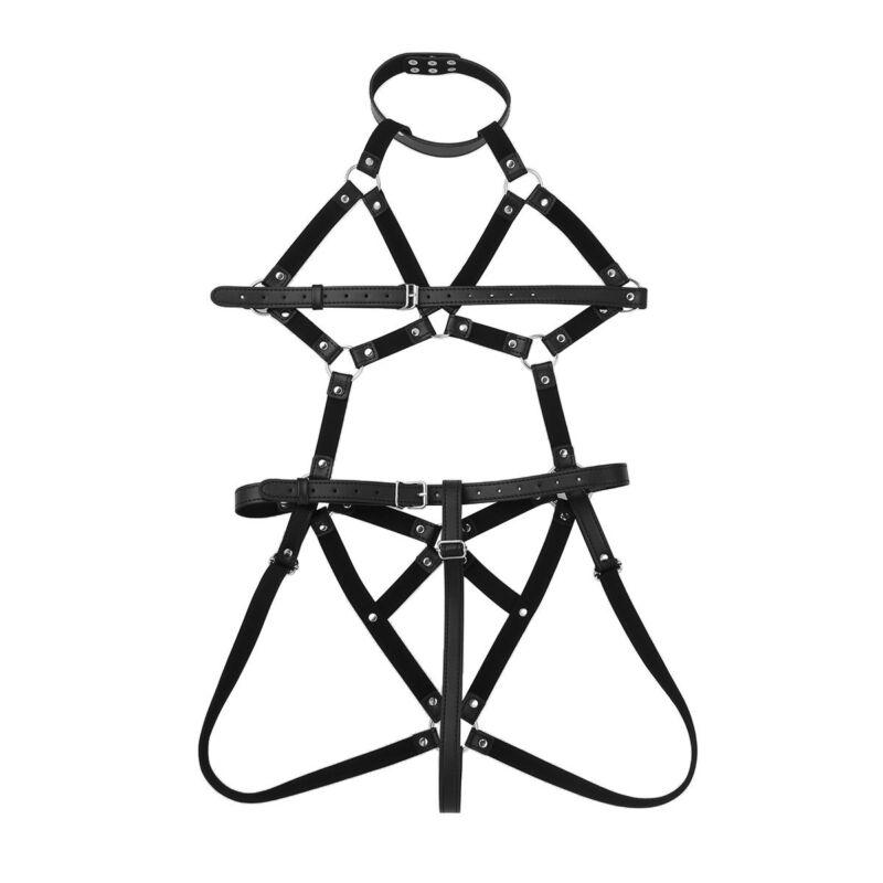 Womens Sexy Punk Body Caged Harness Belt Pu Leather Thong Bodysuit