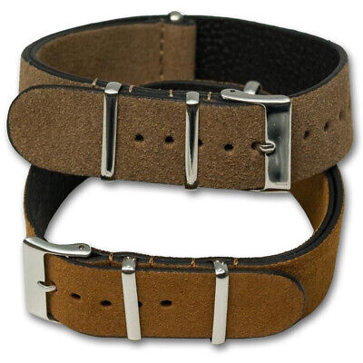 Genuine SUEDE Leather Watch Strap Band NATO G10 Military MoD Zulu brown tan 6