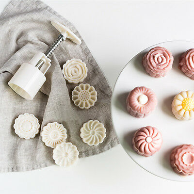 6 Style Stamps Round Flower Moon Cake Mold Mould White Set Mooncake Decor 50g 9