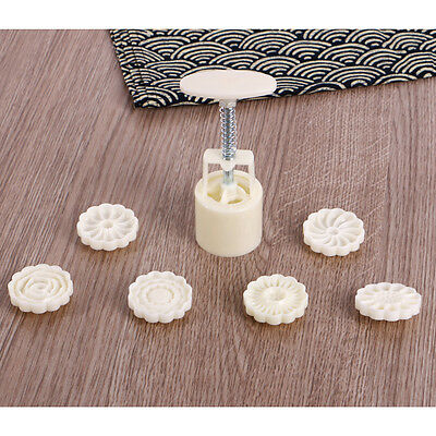 6 Style Stamps Round Flower Moon Cake Mold Mould White Set Mooncake Decor 50g 12