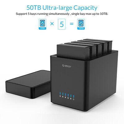 50TB Tool Free 5 Bay 3.5 Inch Sata Hard Drive Enclosure USB3.0 HDD Dock 3