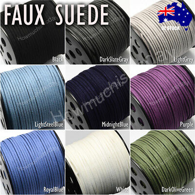 5m 3mm Faux Suede Cord Lace Thread String Enviro Leather Jewellery Beading DIY 3