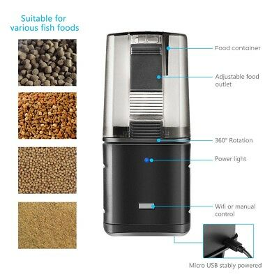 WiFi Automatic Fish Food Feeder Pet Feeding Aquarium Tank Pond Auto Dispenser 4