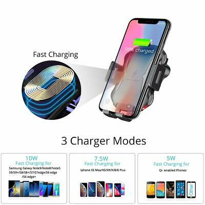 Automatic Clamping Qi Wireless Car Charging Charger Mount Air Vent Phone Holder 3