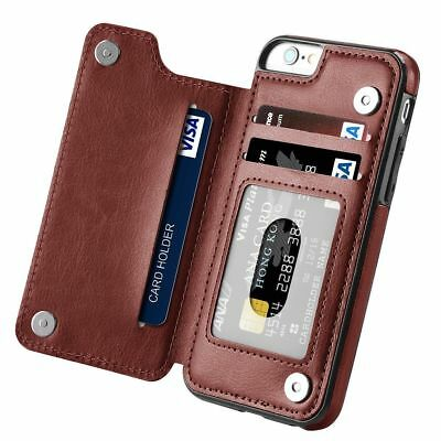 Leather Flip Wallet Card Holder Case Cover For iPhone 6 7 8 Plus Samsung S7 S10+ 8