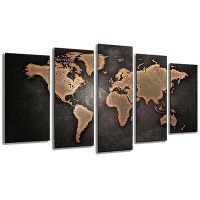 5PCS Unframed Vintage World Map Modern Canvas Print Wall Art Painting Picture 6