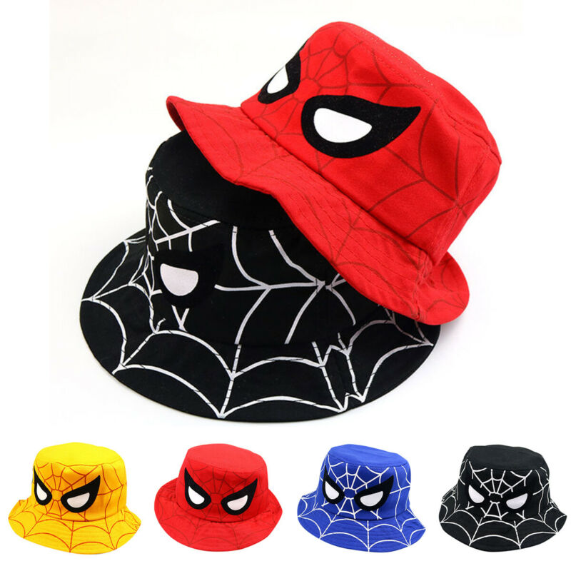e3d503f790b53e Spider Bucket Hat Kids Boy Girl Summer Beach Sun Hats Fishing Boonie Cap  2-7Y 11 11 of 11 See More