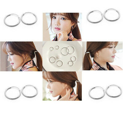 Chic Small Endless Hoop Lip Nose Ear Studs 8/10/14mm 925 Silver Earring New Gift 7