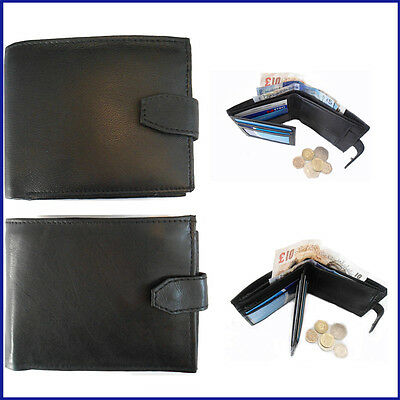 Mens Wallet LEATHER ID Pocket Black Soft Coin Pouch Section Money Purse Gents 2