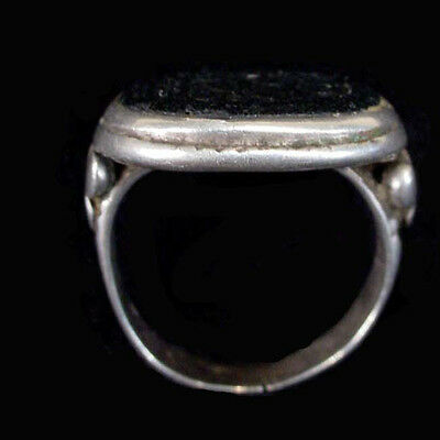 Islamic engraved silver ring with black stone bezel. x5727 2