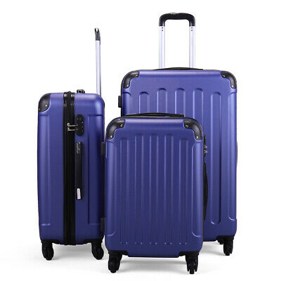3 Piece Luggage Set Travel Trolley Suitcase ABS+PC Nested Spinner w/ Cover Blue 9