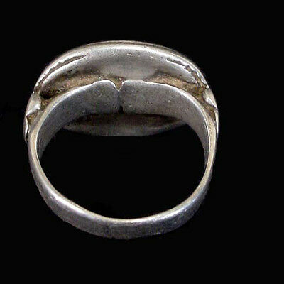 Islamic engraved silver ring with black stone bezel. x5727 3