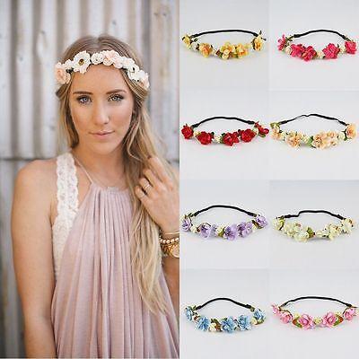 Rose Flower Head Chain Jewelry Hollow Elastic Hair Band Headband Wedding 3