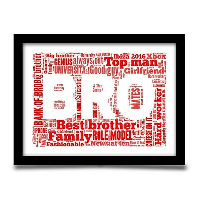 Birthday Gift For A Brother Personalised CHRISTMAS Word Art Print YOUR WORDS 5