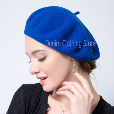 f4e59a061ece9 ... 9 Women s Girl 100% Wool Warm Winter Baggy Classic French Fluffy Beanie  Beret Hat 5