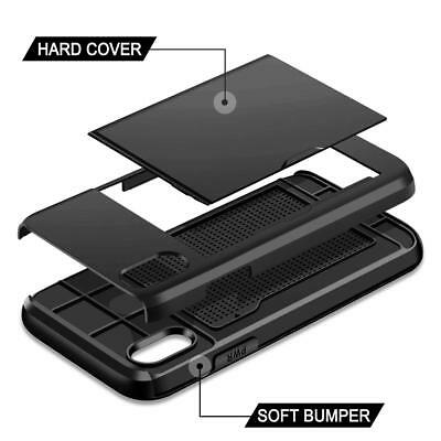 iPhone X XS Max XR 8 7 Case Slide Armor Wallet Card Slots Holder Cover for Apple 4