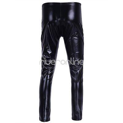 Herren Leggings Wetlook Lackleder Hose Eng Hosen Lang mit Reißverschluss Schwarz 7