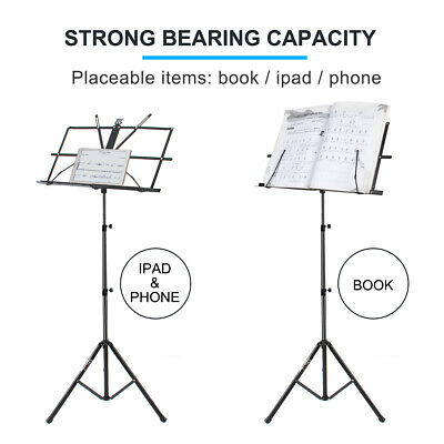 Adjustable Music Stand Holder Foldable Sheet Tripod Base Metal with carry bag 2