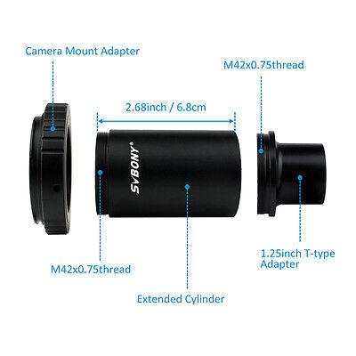 "New SVBONY 1.25""CA1 Camera/Telescope Extension Tube Adapter+T2 Ring For Canon YS"