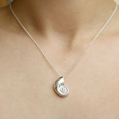 Gold Silver Plated Conch Fossil Ammonite Shell Necklace Pendant Nautical 2
