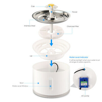 2.4L Automatic Electric Pet Water Fountain Cat/Dog Drinking Dispenser w/ Filter 5