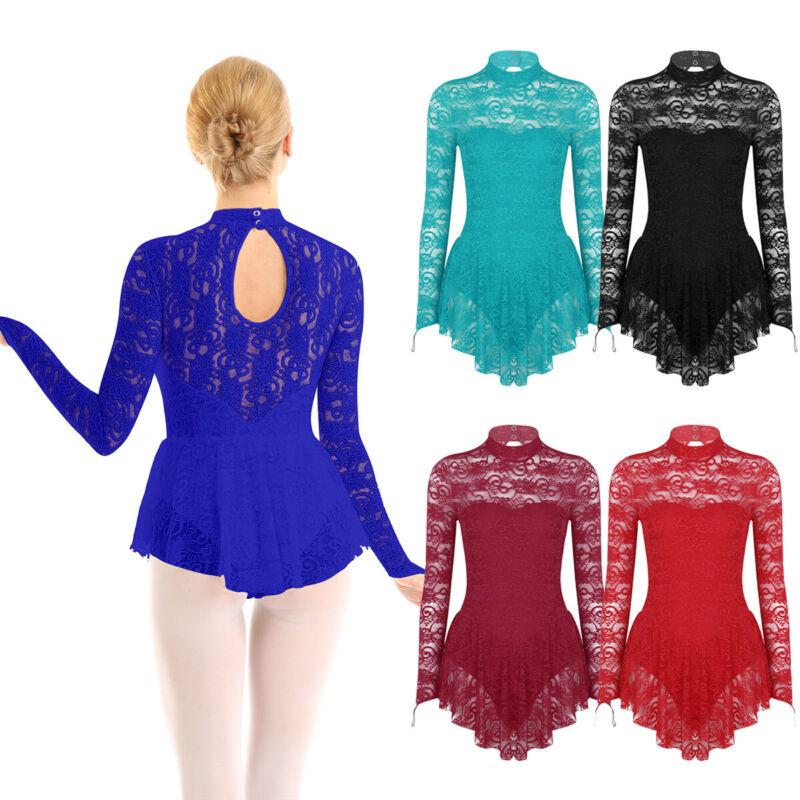 Damen Eiskunstlauf Kleid Langarm Spitze Ballettkleid Tanzkleid Gymnastikanzug 2