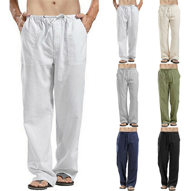 Mens Cotton Linen Loose Pants Summer Casual Beach Drawstring Trousers Slacks UK 10