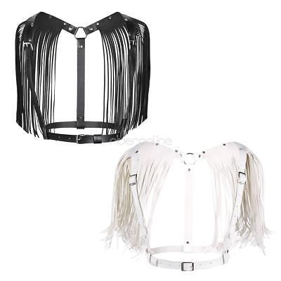 Damen PU-Leder Brust Harness Lederriemen Fesseln Gürtel mit Schulter Quaste sexy 3