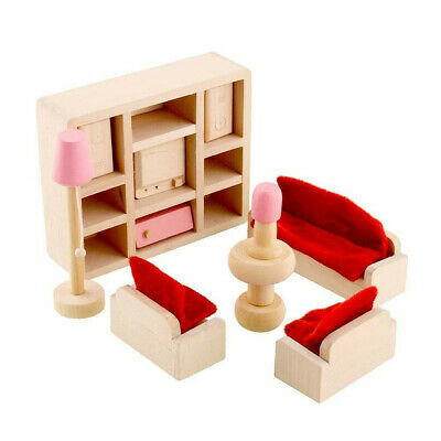 Kid Pink Wooden Furniture Dolls House Miniature 6 Room Set Doll For Gift DIY AR 6