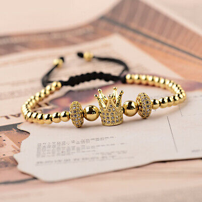 Luxury Jewelry Women Men's Micro Pave CZ Crown Braided Adjustable Bracelets Gift 5
