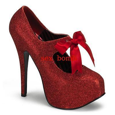 SEXY scarpe GLITTER tacco 14,5 dal 36 al 42 ROSSE plateau invisibile GLAMOUR  ! 2