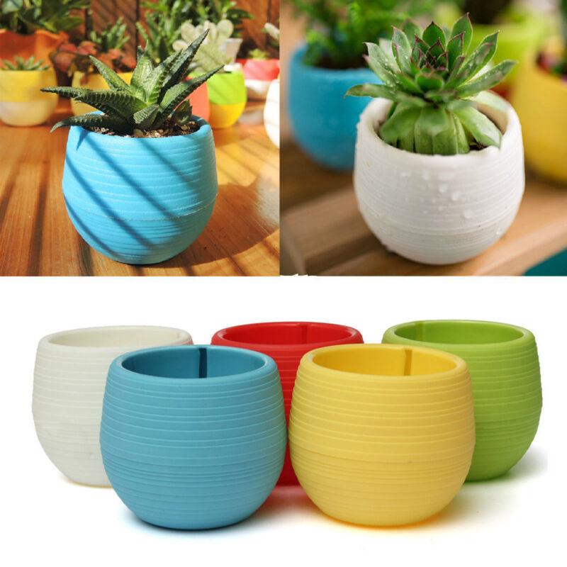 Cute Mini Plastic Flower Pot Succulent Plant Flowerpot Fr Home Office Room Decor 3