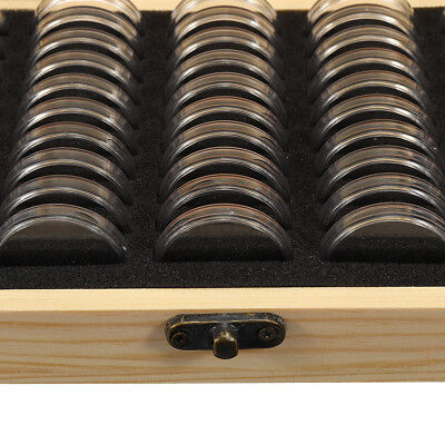 AUS 100pcs Coin Capsule Holder Wooden Container Storage Box Display Case 5