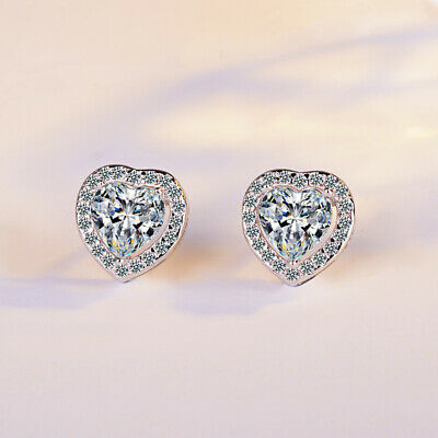 Heart Crystal Stone Stud Earrings 925 Sterling Silver Womens Girl Jewellery Gift 2