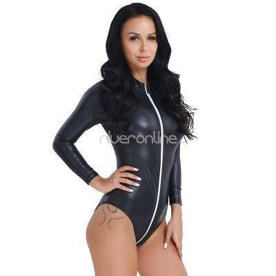 Damen Sexy Catsuit Langarm Leder Jumpsuits Bodysuit Clubwear mit Reißverschluss 4