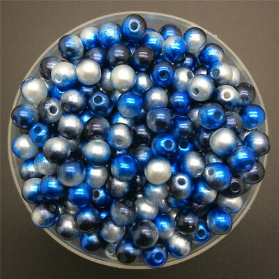 4/6/8mm Colorful Acrylic Round Pearl Spacer Loose Beads DIY Jewelry Making-WI 4