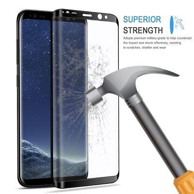 SAMSUNG S8 S9 VITRE VERRE TREMPE 3D Film De Protection Ecran Intégral Total Noir 3
