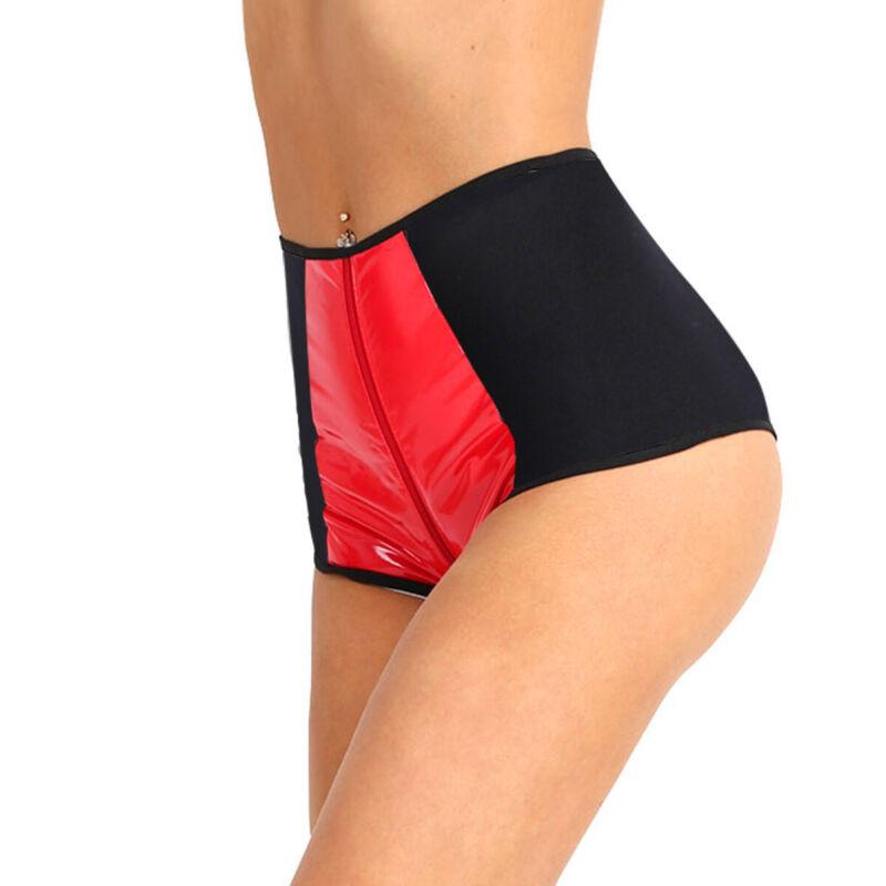 Damen Panty Hipster Wetlook Hotpants High Waist Booty Shorts Unterwäsche Sexy 3