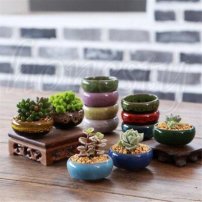 Ice-Crack Glaze Flower Ceramics Succulent Plant Mini Pot Garden Flowerpot Decor 3