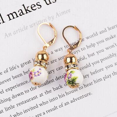 2 Beads Colored Enamel Gemstone Earrings Bohemian Handmade Fashion Earrings Gift 10