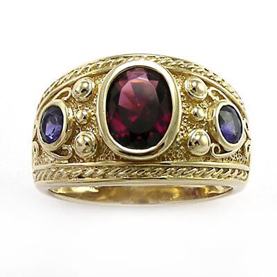 Byzantine Styled Ring 10k Solid Yellow Gold with Iolite and Garnet #R1506 3