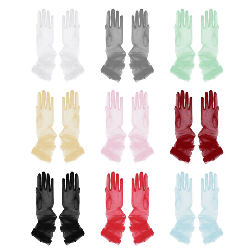 "Ladies Sheer Long Finger Gloves Elegant Mesh Arm Opera Bridal Party Wedding 28"" 2"