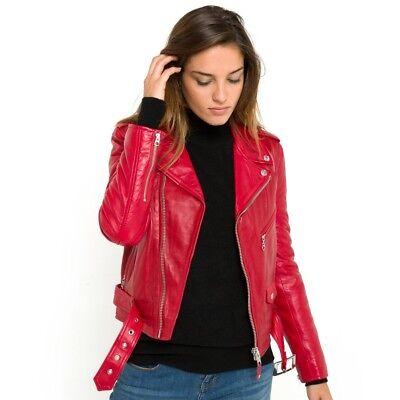 vente chaude réel section spéciale nouveau style BLOUSON PERFECTO SCHOTT Nyc Neuf Femme Cuir D'agneau Rouge / Red T Xl 42