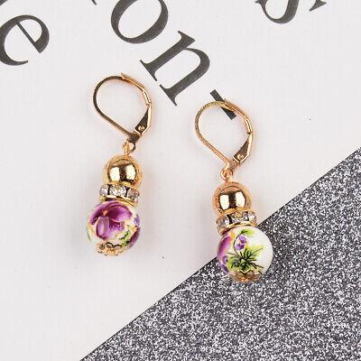 2 Beads Colored Enamel Gemstone Earrings Bohemian Handmade Fashion Earrings Gift 6